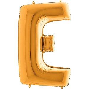 """Balão Flexmetal Dourado """"E"""" 40''/101CM"""