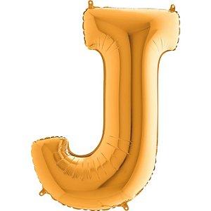 """Balão Flexmetal Dourado """"J"""" 40''/101CM"""