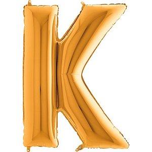 """Balão Flexmetal Dourado """"K"""" 40''/101CM"""