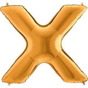 """Balão Flexmetal Dourado """"X"""" 40''/101CM"""