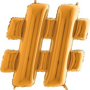 """Balão Flexmetal Dourado """"#"""" 40''/101CM"""