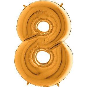 """Balão Flexmetal Dourado """"8"""" 40''/101CM"""