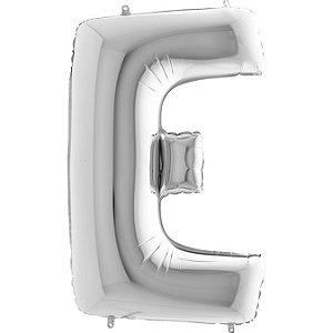 """Balão Flexmetal Prata """"E"""" 40''/101CM"""