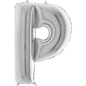 """Balão Flexmetal Prata """"P"""" 40''/101CM"""