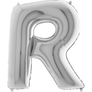 """Balão Flexmetal Prata """"R"""" 40''/101CM"""