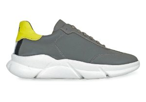 Sneakers Masculino Couro Cinza/Amarelo Barcelona Design | Brooklyn Bull