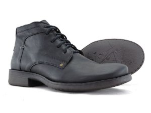 Bota Cano Curto Masculina Em Couro Preto Barcelona Design