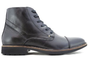 Bota Masculina Cano Médio Couro Preto Barcelona Design