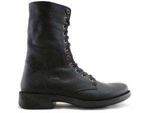 Bota Masculina Cano Longo Couro Preto Barcelona Design