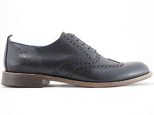 Sapato Oxford Brogue Couro Preto Barcelona Design