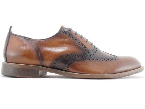 Sapato Oxford Brogue Couro Caramelo Barcelona Design