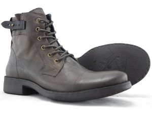 Bota Masculina Cano Médio Zíper Lateral Couro Gray Escuro Barcelona Design