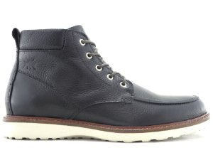 Bota Moc Toe Cano Médio Couro Preto Barcelona Design