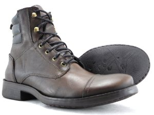 Bota Masculina Cano Médio Couro Castanho Escuro Barcelona Design