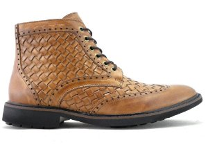 Bota Masculina Couro Tresse Whisky Cano Médio Barcelona Design