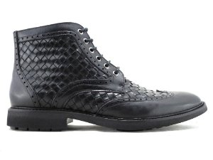 Bota Masculina Couro Tresse Preto Cano Médio Barcelona Design