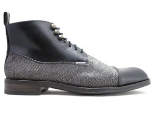 Bota Masculina Cano Médio Couro Preto E Lona Grafite Barcelona Design