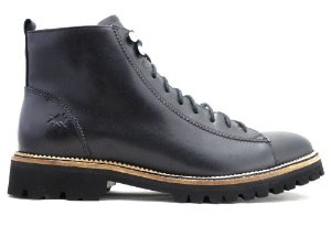 Bota Masculina Lace To Toe Couro Preto Barcelona Design