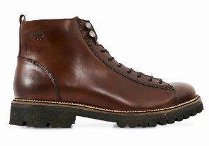 Bota Masculina Lace To Toe Couro Whisky Barcelona Design