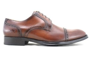 Sapato Masculino Derby Brogue Couro Marrom Damasco Barcelona Design