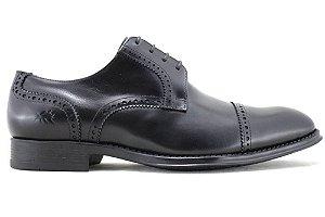 Sapato Masculino Derby Brogue Couro Preto Barcelona Design