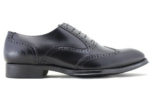 Sapato Masculino Oxford Brogue Wingtip Couro Preto Barcelona Design