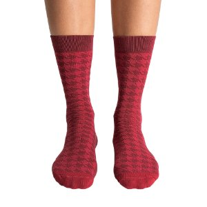 Meia SOCKS ON THE BEAT Pied De Coq Bordeaux