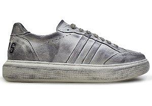 Tênis Sneakers Couro Branco Estonado Barcelona Design