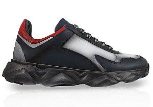 Tênis Sneakers Masculino Couro Marinho Estonado Barcelona Design | Robust Bull