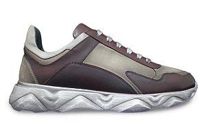 Tênis Sneakers Masculino Couro Vinho Estonado Barcelona Design | Robust Bull
