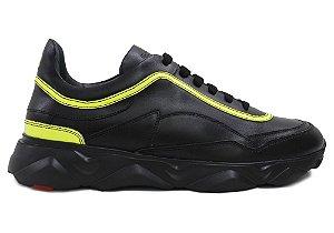 Tênis Sneakers Masculino Neon Couro Preto Barcelona Design | Robust Bull