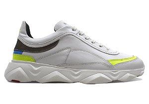 Tênis Sneakers Masculino Neon Couro Branco Barcelona Design | Robust Bull
