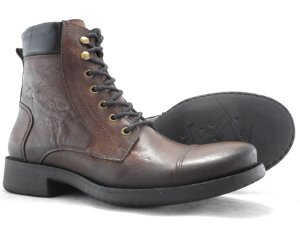 Bota Masculina Cano Médio De Couro Castor Escuro Barcelona Design