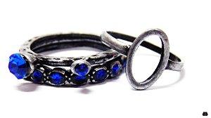 Mix de Anéis Prata Velho em Cristais Azuis