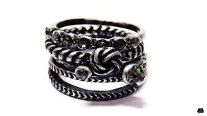 Mix de Anéis Prata Velho em Cristais Black