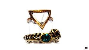 Mix de Anéis Ouro Velho em Cristal Esmeralda