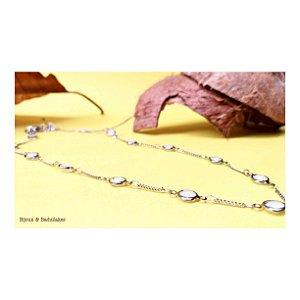 Colar prata com cristais opala