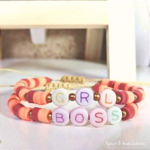 Mix de pulseiras palavras Grl Boss