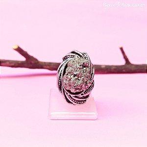Anel pedra Pirita oval prata velho.