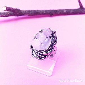 Anel pedra quartzo rosa oval prata velho