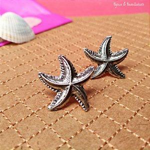 Brincos estrela do mar prata velho