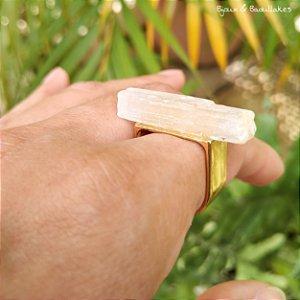 Anel selenita dourado