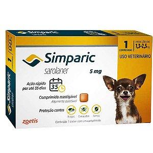 Antipulgas Simparic 5 mg - Cães de 1,3 a 2,5 kg