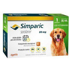 Antipulgas Simparic 80 mg - Cães de 20,1 a 40 kg