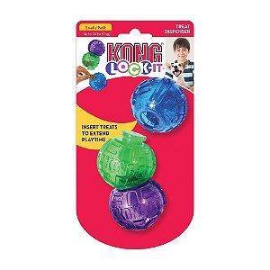 Brinquedo Kong Lock-It Recheavel Para Cães com 3 bolas