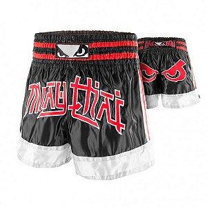 Shorts Muay Thai Importado BB 00183- Preto/Vermelho/Branco