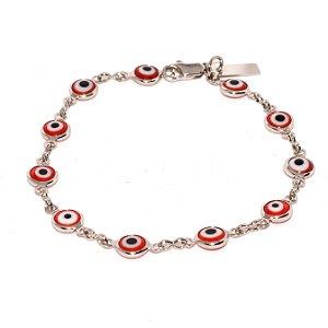 Pulseira Olho Grego - Vermelho - Ródio Branco