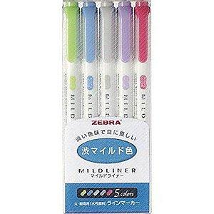 Canetas marcadores Zebra Mildliner Tons Pastéis - Conjunto com 5