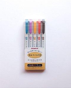 Canetas marcadores Zebra Mildliner Tons Quentes - Conjunto com 5