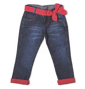 Calça Feminina Jeans Poá Vermelho